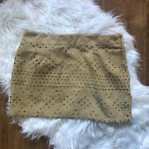 Suede Aztec Tan Skirt